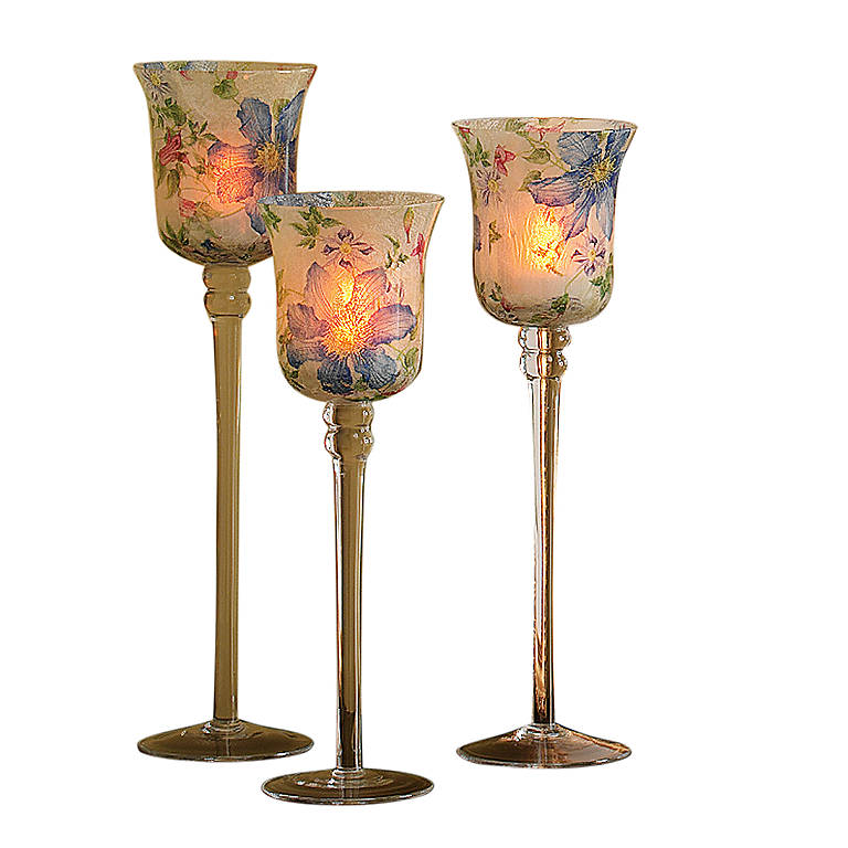 Glass Romance Lights Morning Glory Candlestick Votives, Set of 3, Home Decorating Candles by Lenox