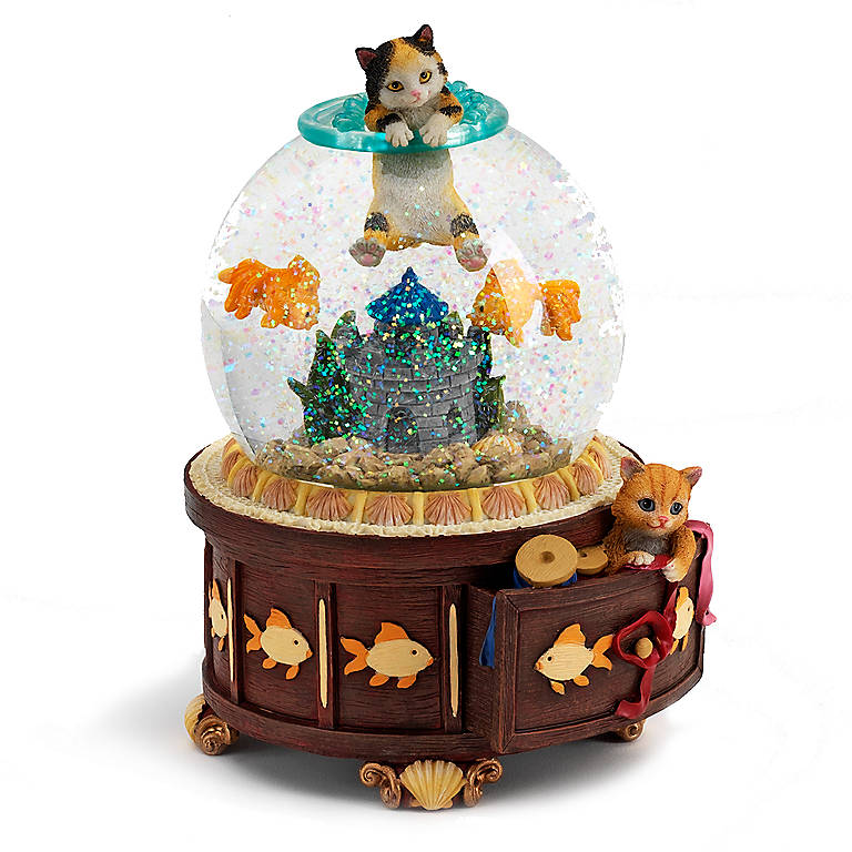 Resin San Francisco Music Box Kitty Cat in Fishbowl, Miniatures and Figurines Animals by Lenox
