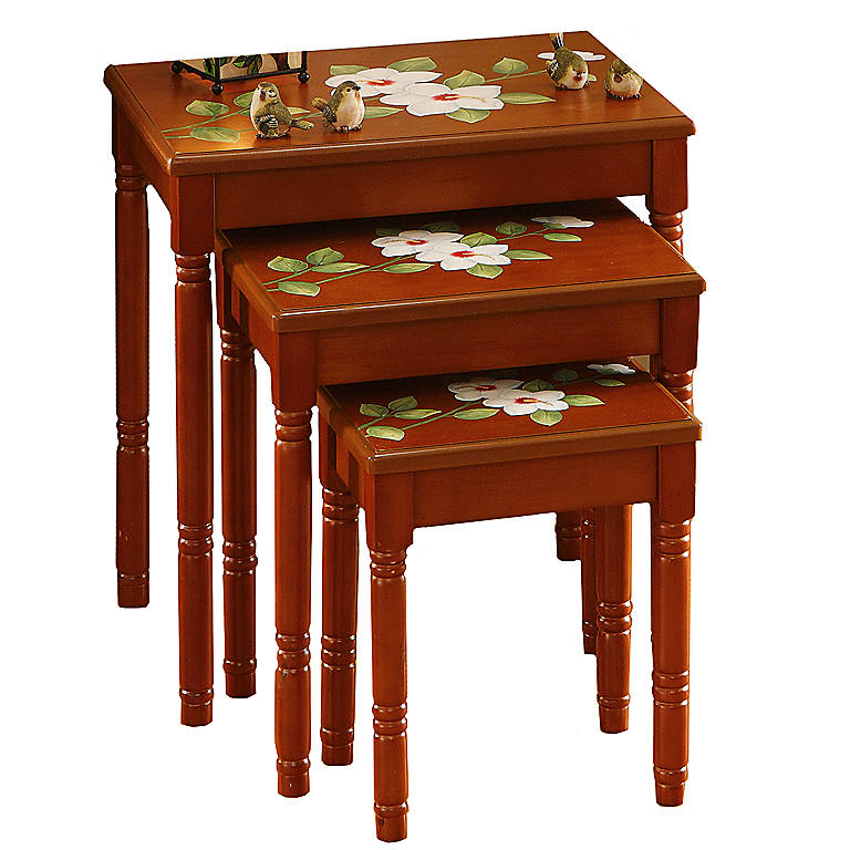 Hibiscus Nesting Tables, Set of 3, Home Decorating by Lenox