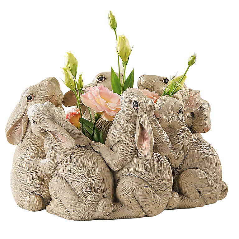 Resin Circle of Rabbits Planter, Miniatures and Figurines Animals by Lenox