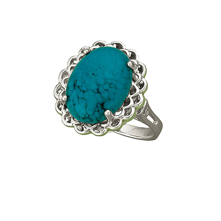 Sterling Silver Turquoise Cabochon Ring by Lenox, Costume Jewelry by Lenox