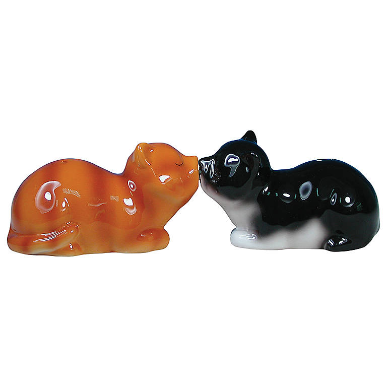 Ceramic Cats Magnetic Salt & Pepper Set, Dinnerware Serving Pieces Salt and Pepper Shakers by Lenox