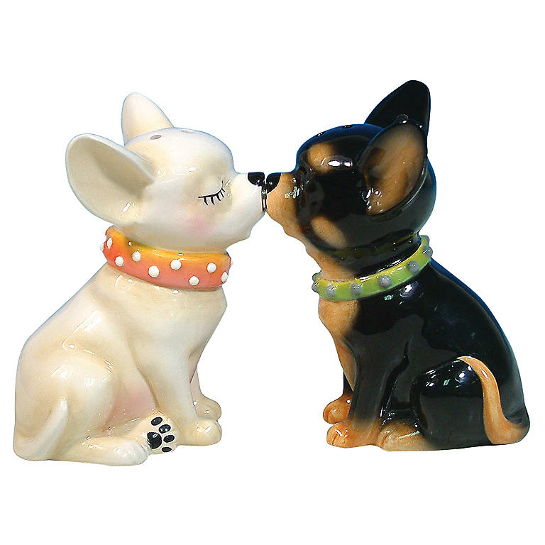 Ceramic Chihuahua Magnetic Salt & Pepper Set, Dinnerware Serving Pieces Salt and Pepper Shakers by Lenox
