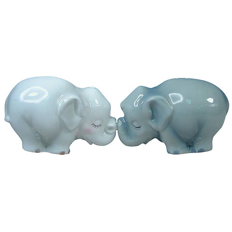 Ceramic Elephants Magnetic Salt & Pepper Set, Dinnerware Serving Pieces Salt and Pepper Shakers by Lenox