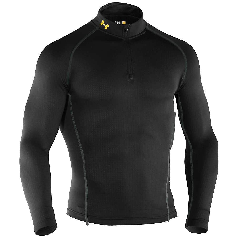Under Armour Men's UA Base 2.0 1/4 Zip - Medium - Black / School Bus