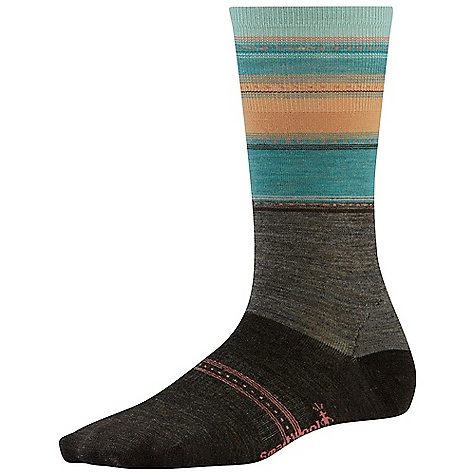 Smartwool Women's Sulawesi Stripe Sock Taupe Heather / Chestnut Heather
