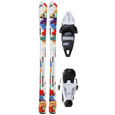 Head Pez Team Nd Skis w/ Lrx 7.5 Ac Bindings Solid White/Black - Kid's
