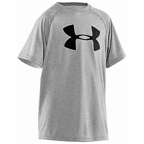 Under Armour Boys' UA Tech Big Logo SS Tee True Gray Heather / Black