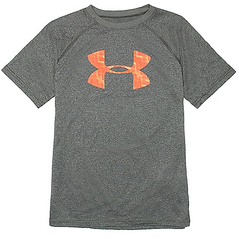 Under Armour Boys' UA Tech Big Logo SS Tee Carbon Heather / Blaze Orange
