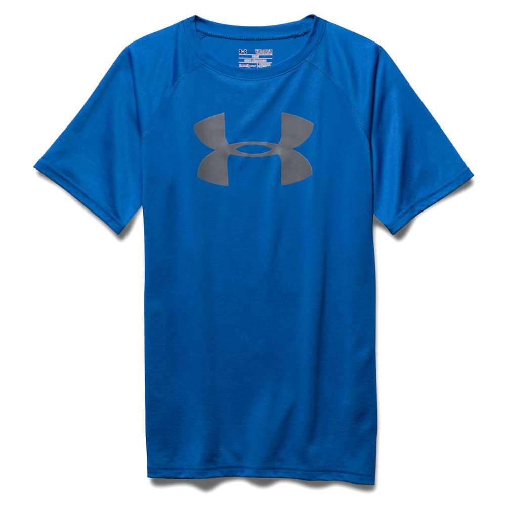 Under Armour Boys' UA Tech Big Logo SS Tee - Small - Ultra Blue / Graphite