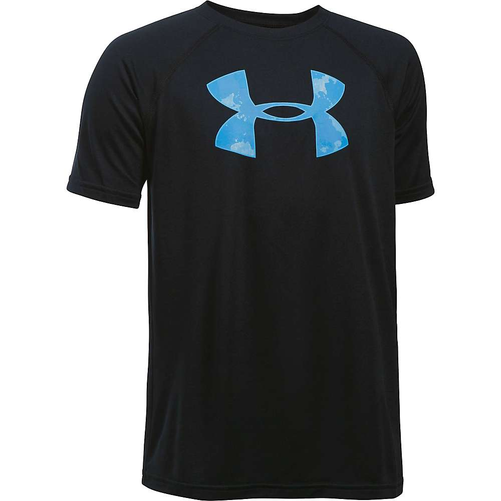 Under Armour Boys' UA Tech Big Logo SS Tee - Small - Black / Carolina Blue