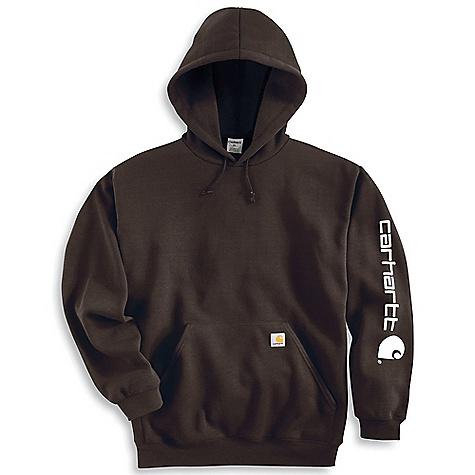 Carhartt Men's Midweight Signature Sleeve Logo Hooded Sweatshirt Dark Brown
