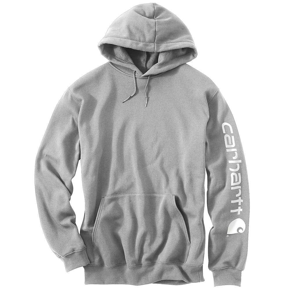 Carhartt Men's Midweight Signature Sleeve Logo Hooded Sweatshirt - Small Regular - Heather Grey