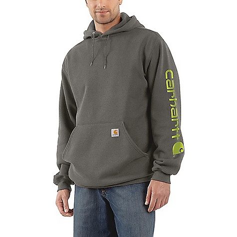 Carhartt Men's Midweight Signature Sleeve Logo Hooded Sweatshirt K288-ORG
