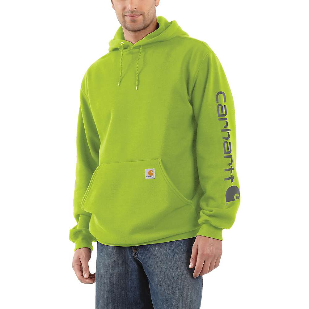 Carhartt Men's Midweight Signature Sleeve Logo Hooded Sweatshirt - XXL - Tall - Sour Apple