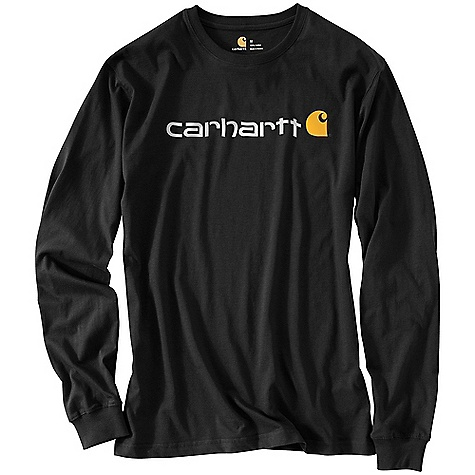 Carhartt Men's Signature Logo Long Sleeve T-Shirt Black