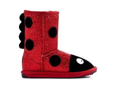 EMU Kids' Little Creatures Ladybird Sparkle Boot