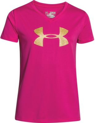 Under Armour Girls' Big Logo Tech V Neck SS Tee