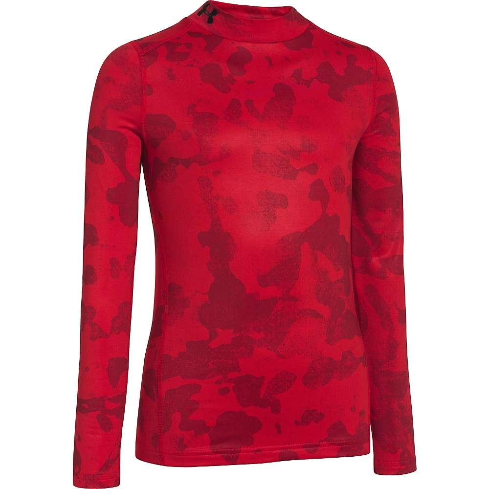 Under Armour Boys' Coldgear Evo Fitted Long Sleeve Mock - Large - Red / Black