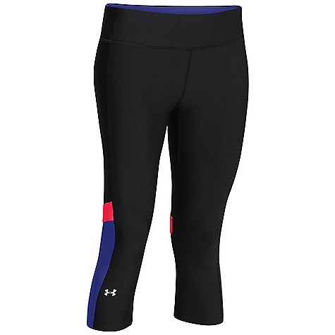 Under Armour Women's Heatgear Alpha Compression Novelty Capri Black / Pink Shock / Metallic Silver