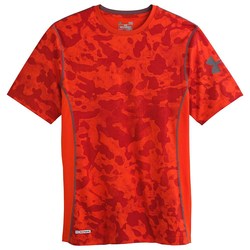 Under Armour Men's Heatgear Sonic Fitted Printed SS Tee - Small - Volcano / Graphite