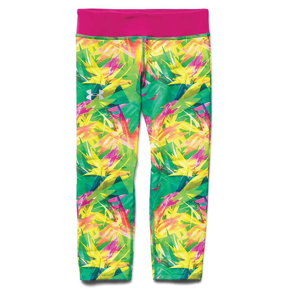 Under Armour Girls' Alpha Printed Capri - Medium - Persian / Tropic Pink / Silver