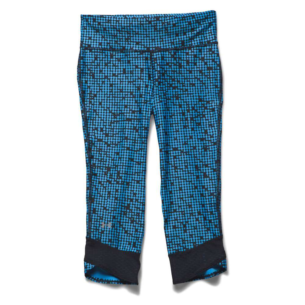 Under Armour Women's Fly By Printed Capri - Large - Jazz Blue / Black / Reflective
