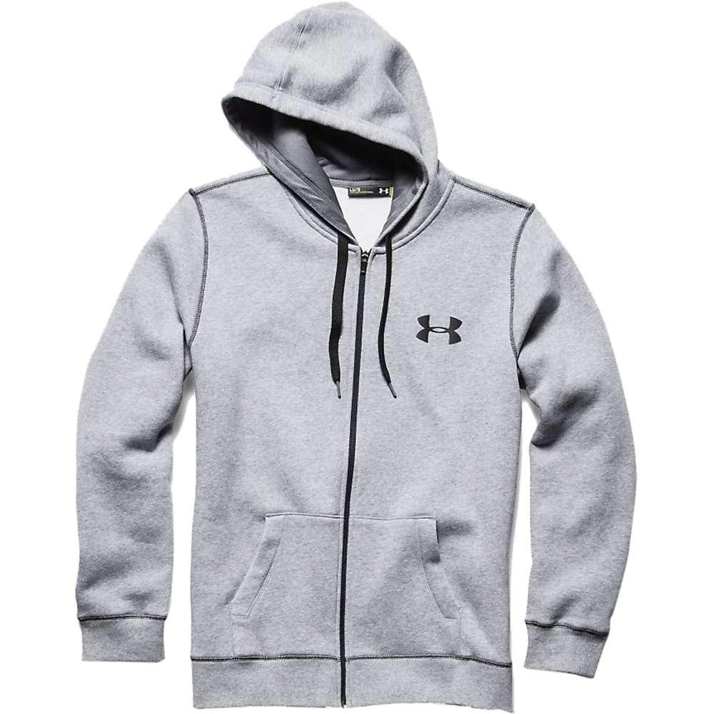 Under Armour Men's UA Rival Cotton Full Zip Hoodie - Large - True Gray Heather / Black / Black