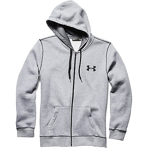 Under Armour Men's UA Rival Cotton Full Zip Hoodie True Gray Heather / Black / Black