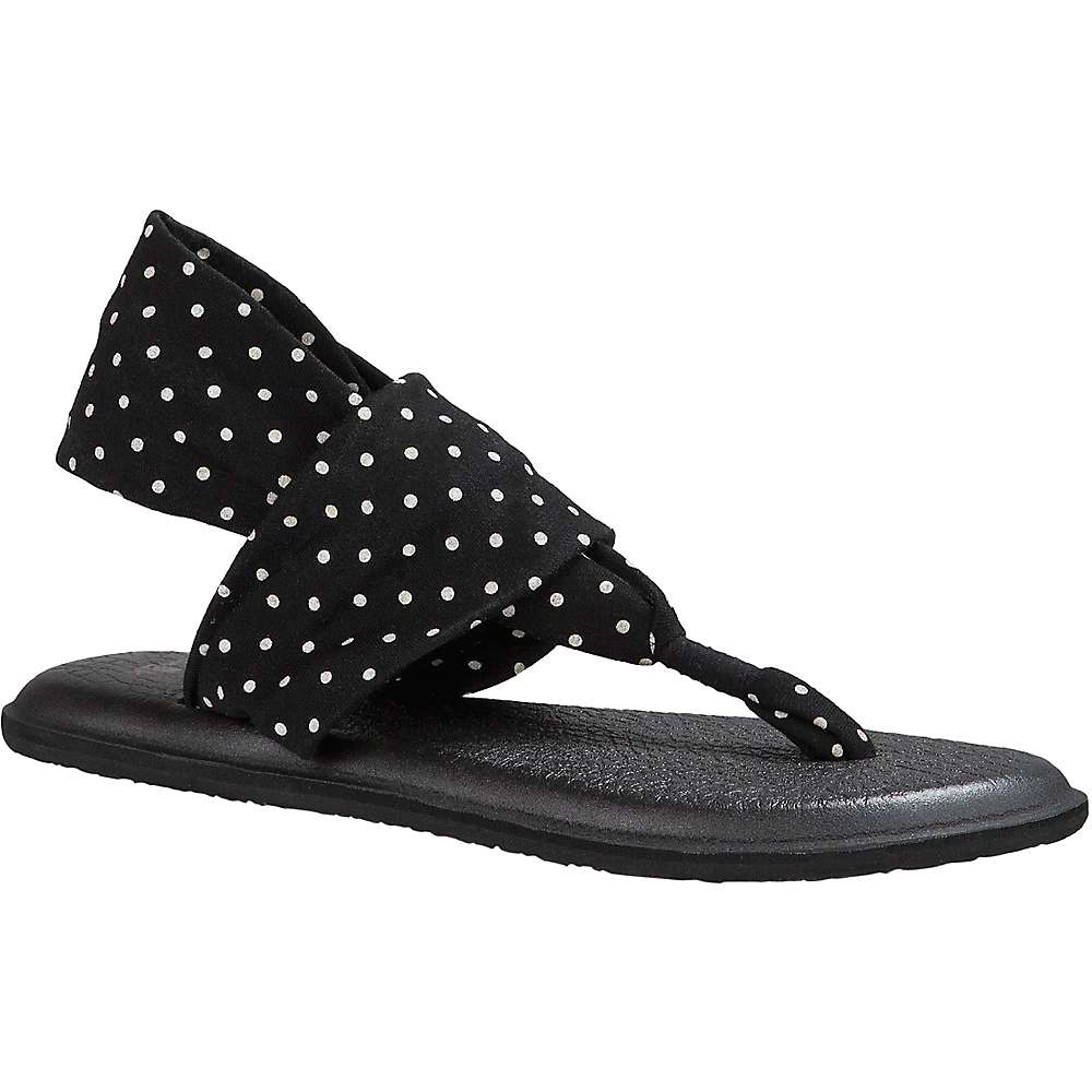 Sanuk Women's Yoga Sling 2 Prints Sandal - 6 - Black / White Dots