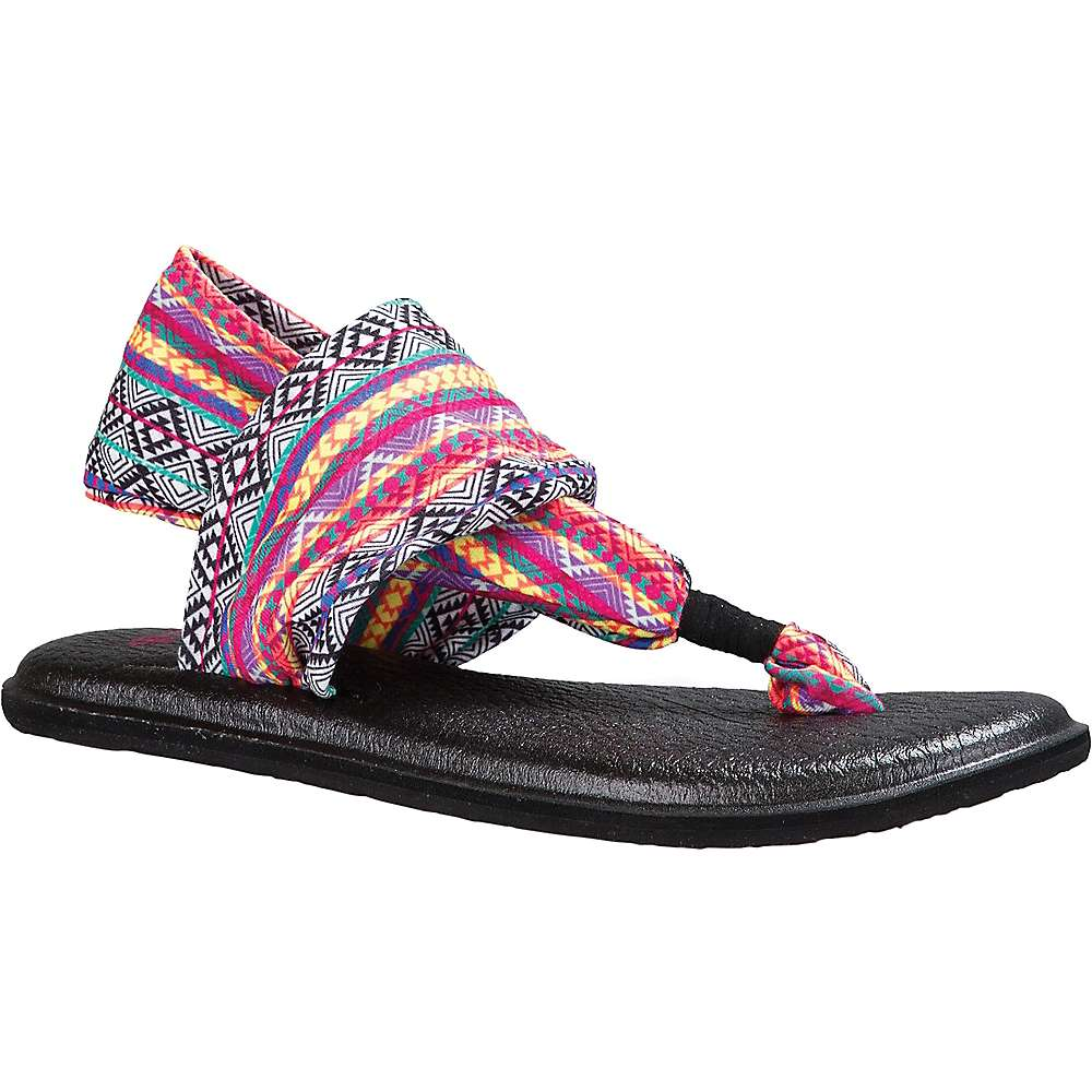 Sanuk Women's Yoga Sling 2 Prints Sandal - 6 - Magenta / Multi Tribal Stripe