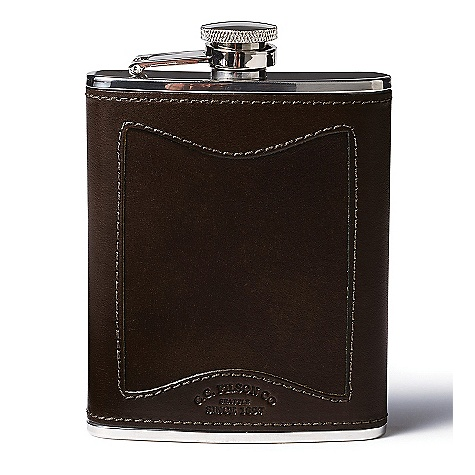 photo: Filson Bridle Leather & Stainless Steel Hip Flask water bottle