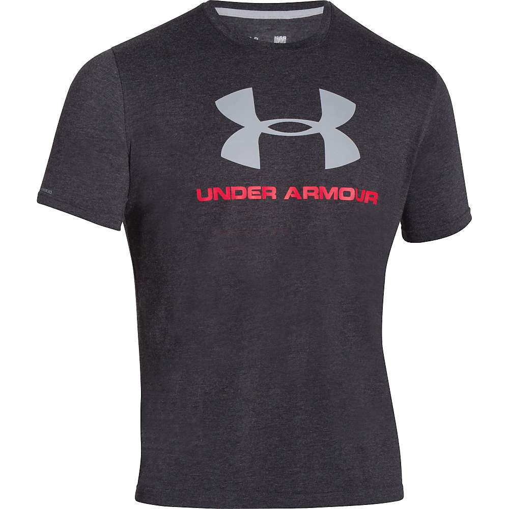 Under Armour Men's UA Charged Cotton Sportstyle Logo Tee - Small - Black / Red / Steel