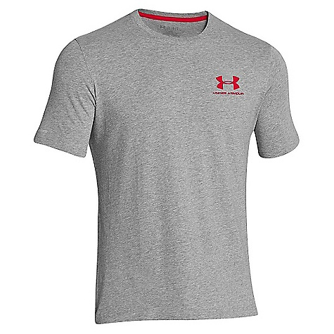 Under Armour Men's UA Charged Cotton Sportstyle Left Chest Lockup True Grey Heather / Red