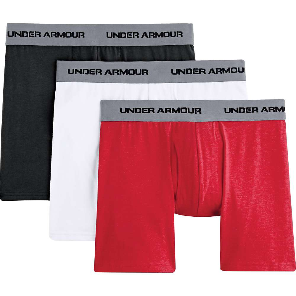 Under Armour Men's Charged Cotton Stretch 6 Inch Boxerjock 3 Pack - Small - White / Red / Black