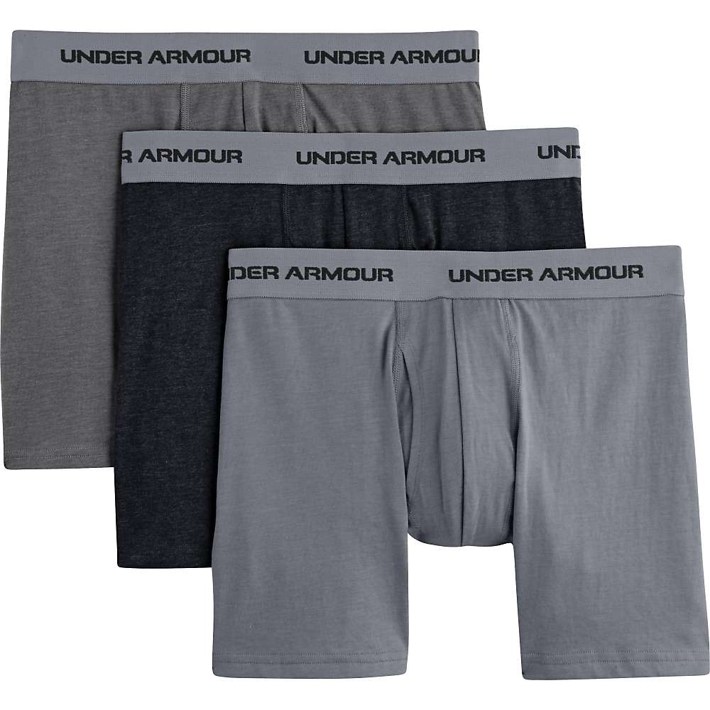 Under Armour Men's Charged Cotton Stretch 6 Inch Boxerjock 3 Pack - Small - Steel / Graphite / Anthracite