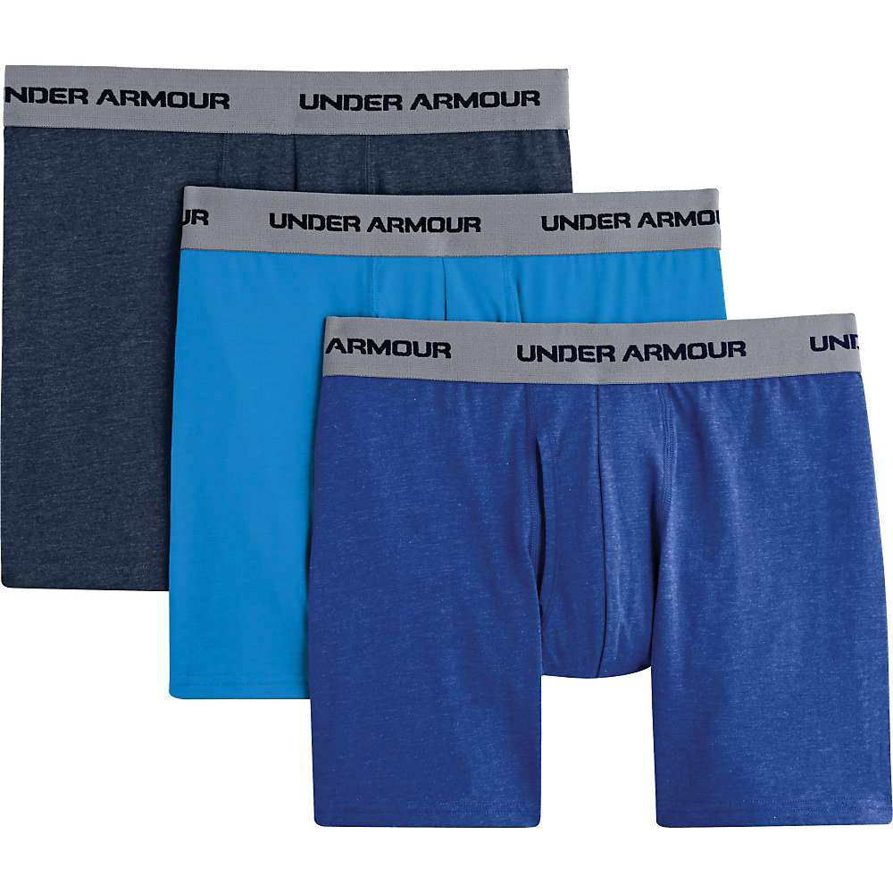 Under Armour Men's Charged Cotton Stretch 6 Inch Boxerjock 3 Pack - Small - Electric Blue / Academy / Royal