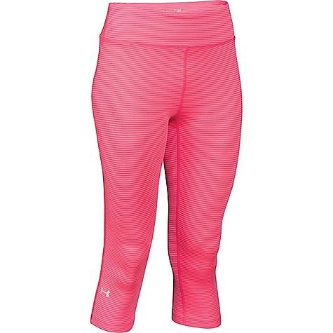Under Armour Women's Heatgear Alpha Compression Stripe Capri Pink Shock / Metallic Silver