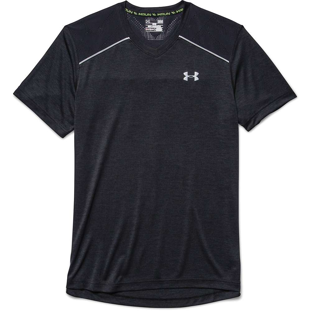 Under Armour Men's Heatgear Armourvent Launch SS Tee - XL - Black / Black / Reflective