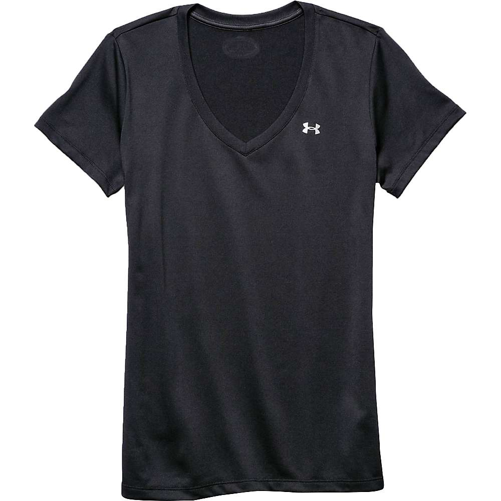 Under Armour Women's UA Tech Solid V-Neck SS Top - XL - Warm Gray Heather / Black