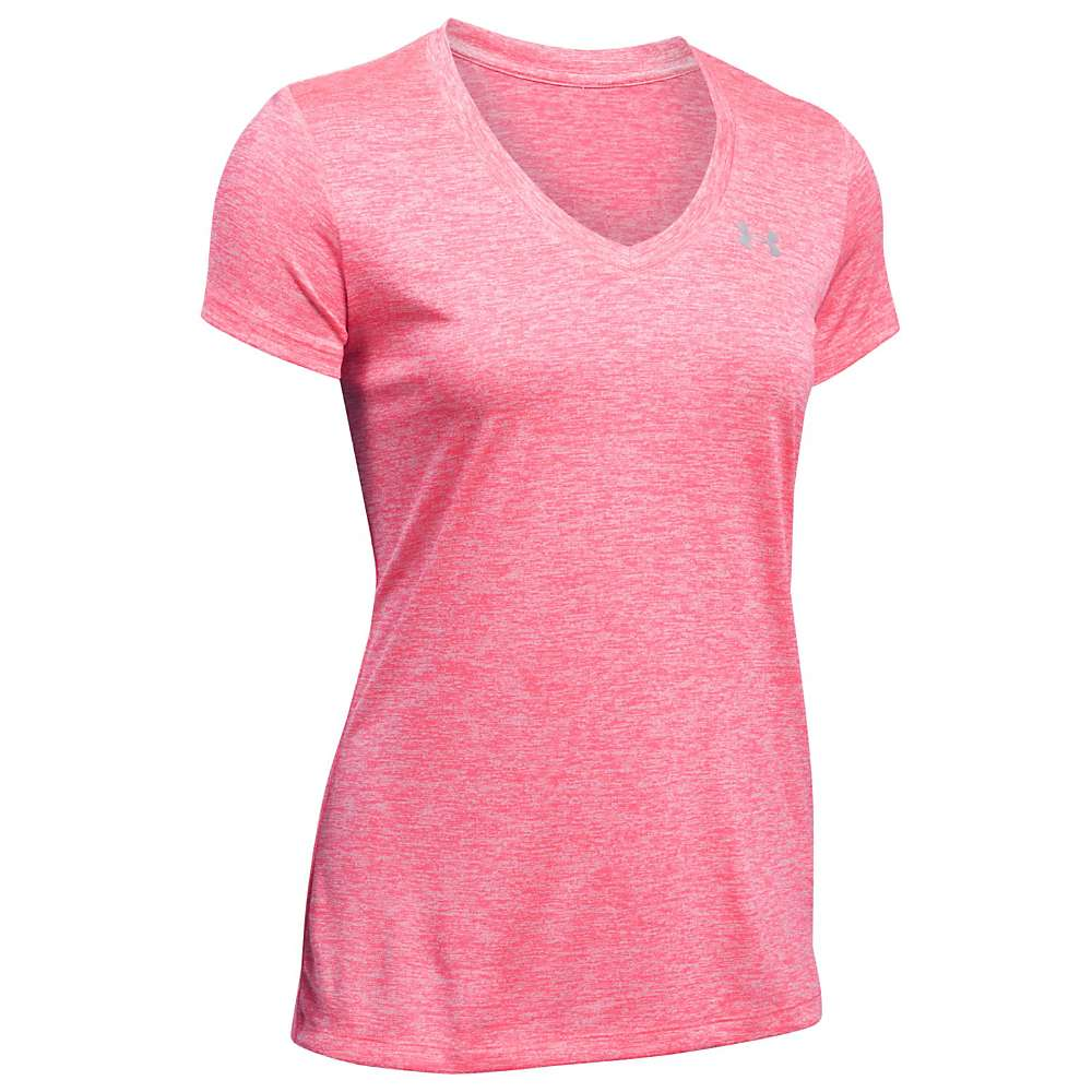 Under Armour Women's UA Tech Twist V-Neck Tee - Small - Pink Shock / Metallic Silver