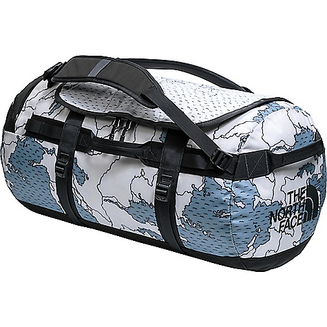The North Face Base Camp M Duffel Bag Dusty Blue Around The World Print / Asphalt Grey