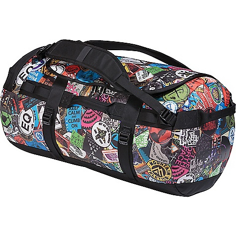 The North Face Base Camp M Duffel Bag TNF Red Sticker Bomb Print / TNF Black