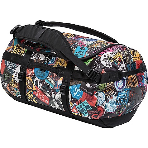 The North Face Base Camp S Duffel Bag TNF Red Sticker Bomb Print / TNF Black