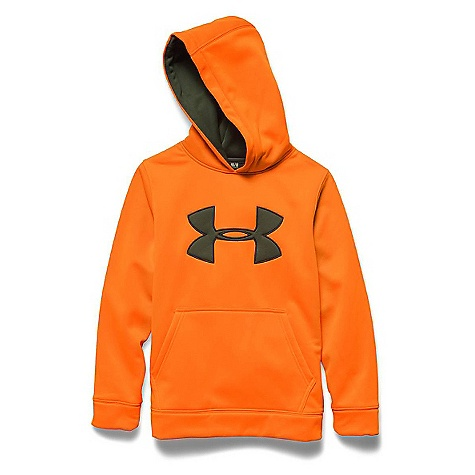 Under Armour Youth Camo Big Logo Hoody Blaze Orange / Greenhead