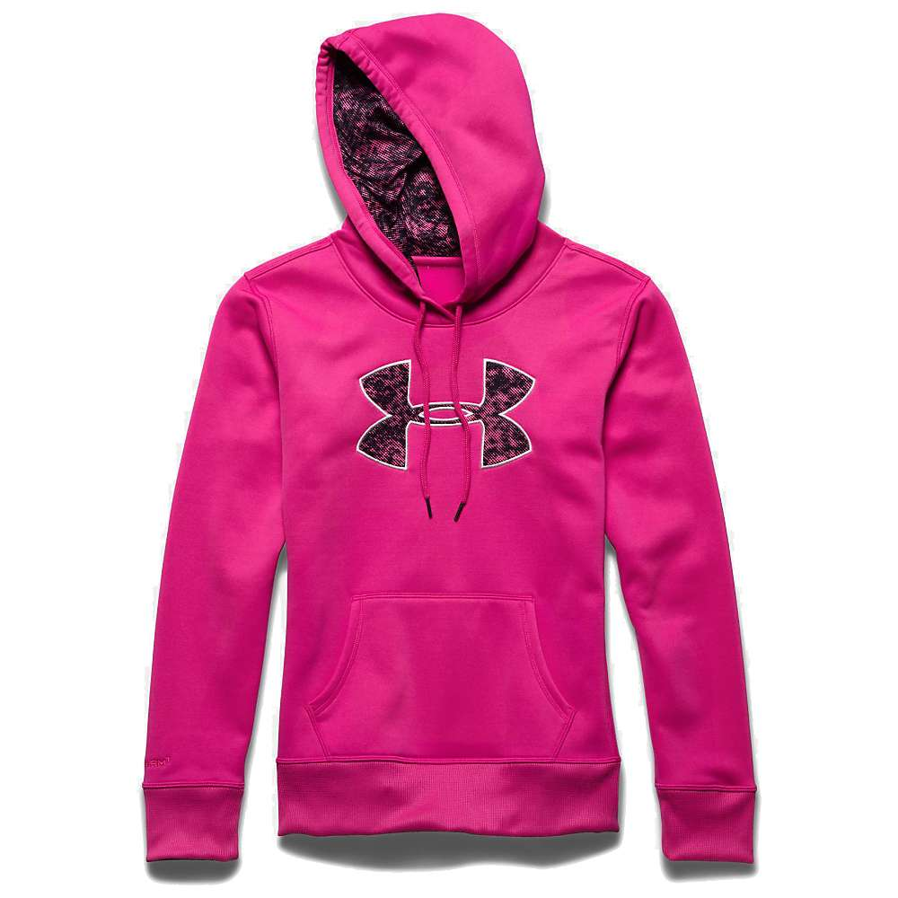 Under Armour Women's Armour Fleece Printed Fill Big Logo Hoody - Small - Rebel Pink / Pink Punk / Rosewater