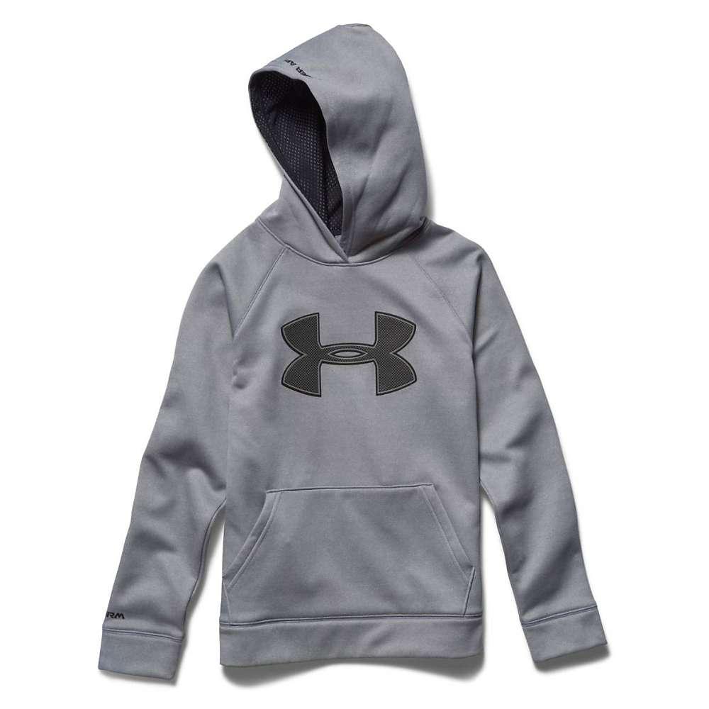Under Armour Boys' Armour Fleece Storm Big Logo Hoody - XS - True Gray Heather / Black