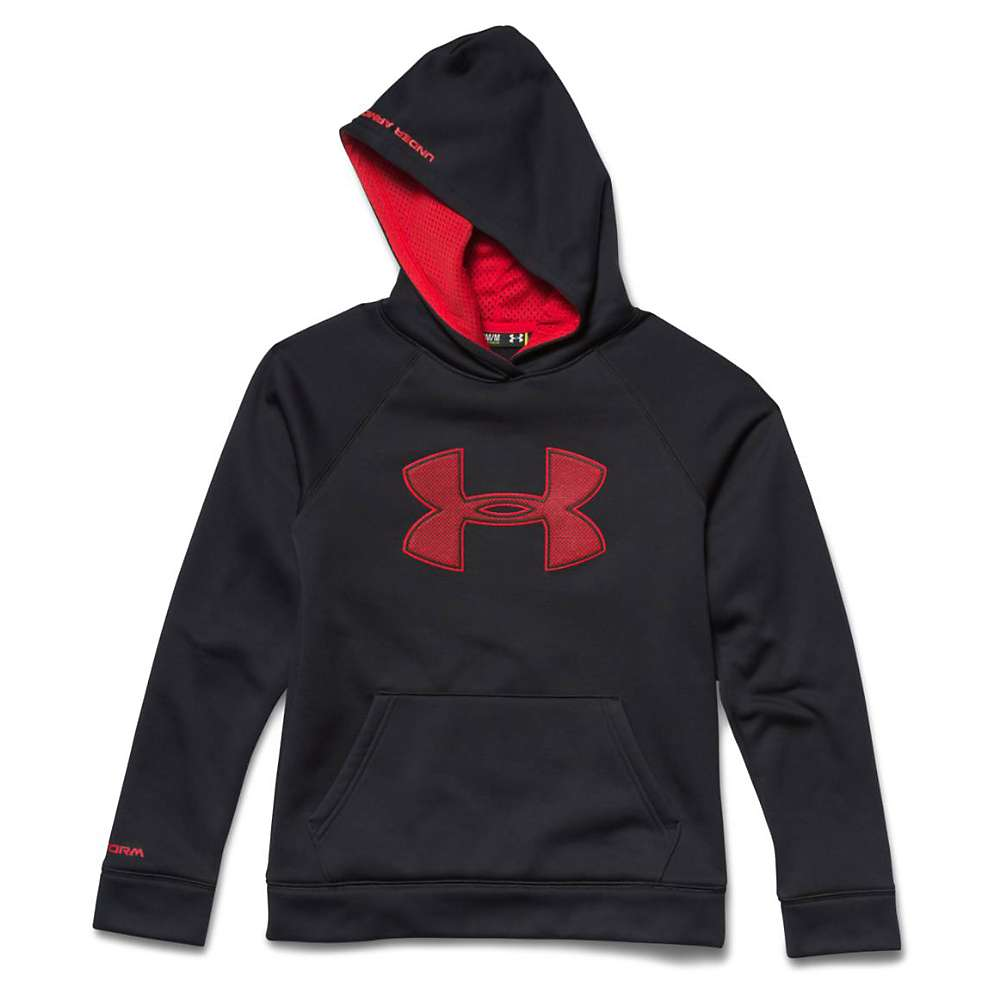 Under Armour Boys' Armour Fleece Storm Big Logo Hoody - XS - Black / Risk Red