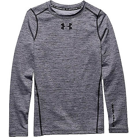 Under Armour Boys' ColdGear Armour Twist Crew Top White / Black