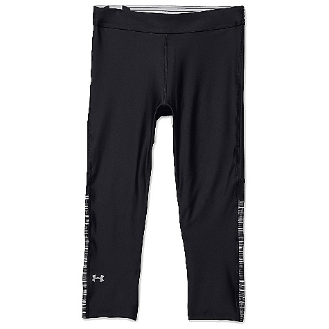 Under Armour Women's HeatGear Armour Capri Black / White / Metallic Silver